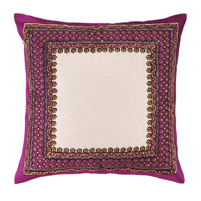 Terranea Embroidered Linen Throw Pillow Color: Purple