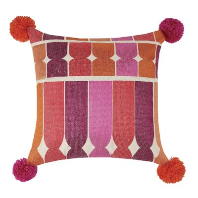 Ines Embroidered Linen Throw Pillow Color: Pink