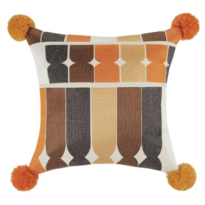 Ines Embroidered Linen Throw Pillow Color: Orange