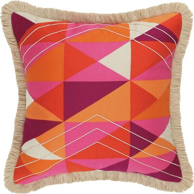 Colfax Embroidered Linen Throw Pillow Color: Pink