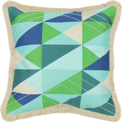 Colfax Embroidered Linen Throw Pillow Color: Blue