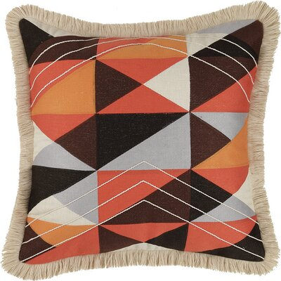Colfax Embroidered Linen Throw Pillow Color: Orange