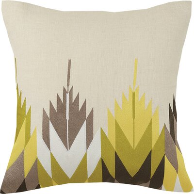 Cypress Embroidered Linen Throw Pillow Color: Yellow