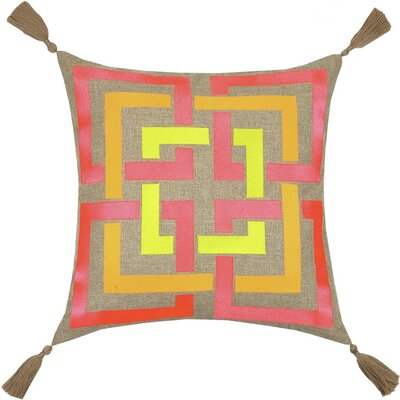 Neon Shanghai Links Embroidered Linen Throw Pillow Color: Multi