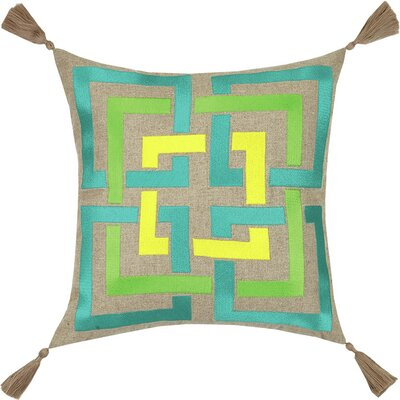 Neon Shanghai Links Embroidered Linen Throw Pillow Color: Lime