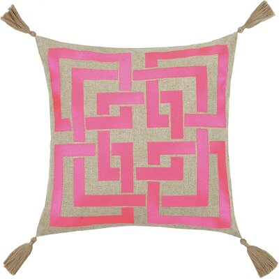 Neon Shanghai Links Embroidered Linen Throw Pillow Color: Pink