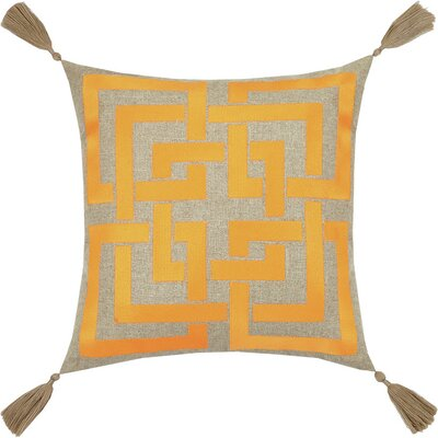 Neon Shanghai Links Embroidered Linen Throw Pillow Color: Orange