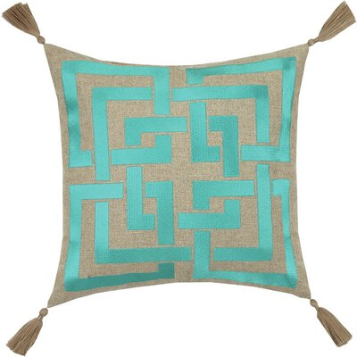 Neon Shanghai Links Embroidered Linen Throw Pillow Color: Blue