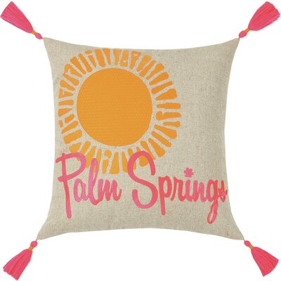 Neon Palm Springs Embroidered Linen Throw Pillow Color: Pink