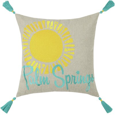 Neon Palm Springs Embroidered Linen Throw Pillow Color: Blue
