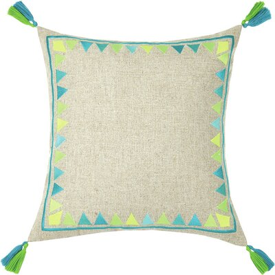 Neon Solona Embroidered Linen Throw Pillow Color: Blue/Lime