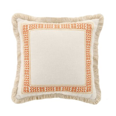 Canoga Embroidered Linen Throw Pillow