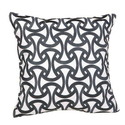 Santorini, Geometric Pink Embroidered Pillow Color: Santorini Black