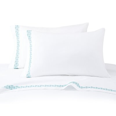 230 Thread Count Cotton Sateen Trellis Block Sheet Set Color: Turquoise, Size: California King