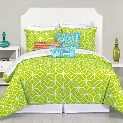 Residential Trellis Lime 3 Piece Bed-In-A-Bag Set Size: King