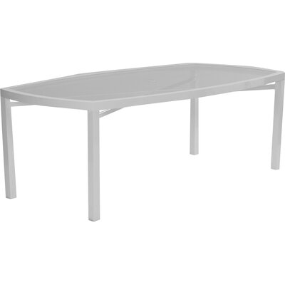 Eclipse Glass Top Rectangle Dining Table with Umbrella Hole Finish: Cocoa Spice
