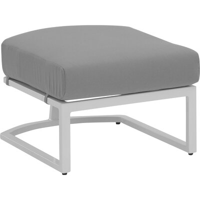 Eclipse Ottoman with Cushion Fabric: Dupione Stone, Finish: Cocoa Spice