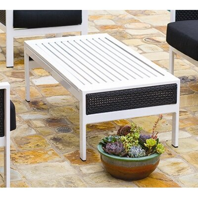 Parkview Woven Coffee Table Top Finish: Black, Base Finish: Gloss White