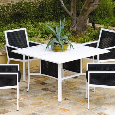 Parkview Woven Square Dining Table with Umbrella Hole Top Finish: Black, Base Finish: Gloss White