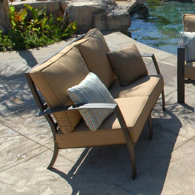 Escape Deep Seat Loveseat Fabric: Canvas Spa