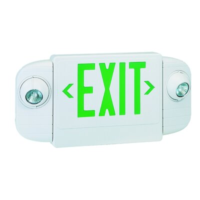 Exit/Emergency Combo Halogen Light in Green
