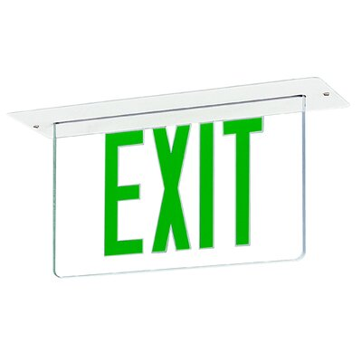 Edge Recessed LED Exit Sign Light in Green