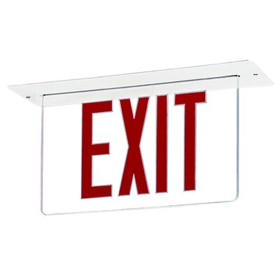 Edge Recessed LED Exit Sign Light in Red