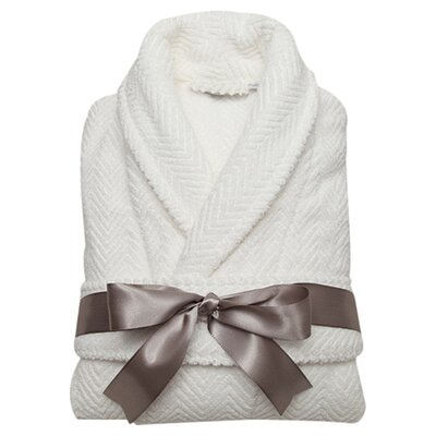 Huguetta Weave 100% Turkish Cotton Unisex Bathrobe Size: Small / Medium, Color: White