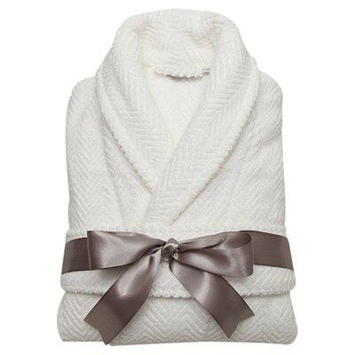 Huguetta Weave 100% Turkish Cotton Unisex Bathrobe Size: Large / Extra Large, Color: White
