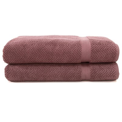 Herringbone Weave 100% Turkish Cotton Bath Towel (Set of 2) Color: Sugar Plum