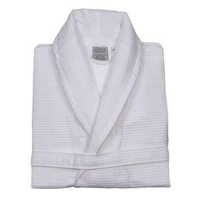 Unisex Waffle Weave Bathrobe Small/Medium in White
