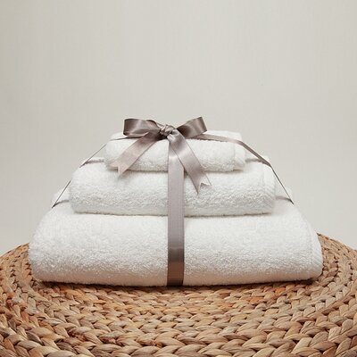 Soft Twist 100% Turkish Cotton 3 Piece Towel Set Color: White