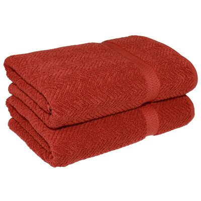 Herringbone Weave Bath Towel Color: Terracotta