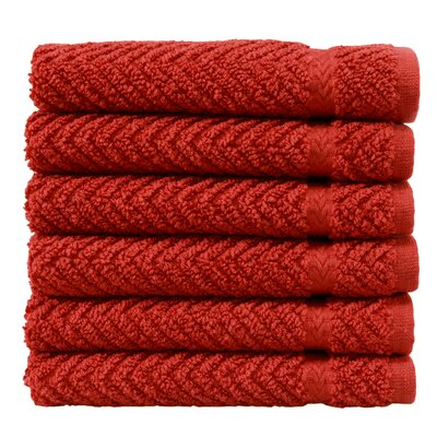 Herringbone Luxury Hotel & Spa Weave 100% Turkish Cotton Wash Cloth Color: Terracotta