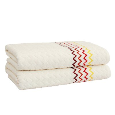 Montauk Zig Zag Bath Towel Color: Cream