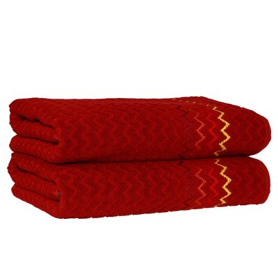 Montauk Zig Zag Bath Towel Color: Burgundy