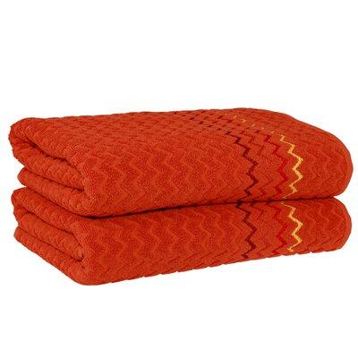 Montauk Zig Zag Bath Towel Color: Pumpkin