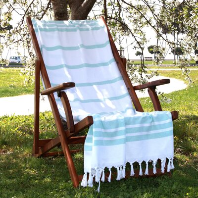 Herringbone Weave Cotton Pestemal Bath Towel Color: Soft Aqua