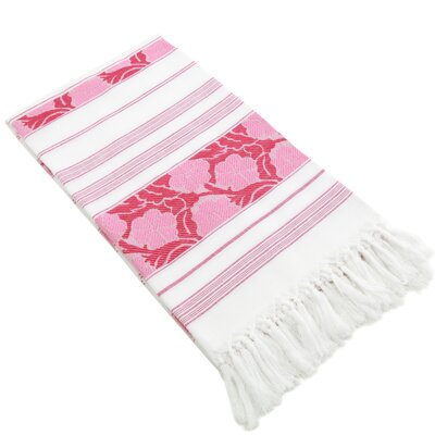 Flowers For All Jacquard Pestemal Towel Color: Pink/White