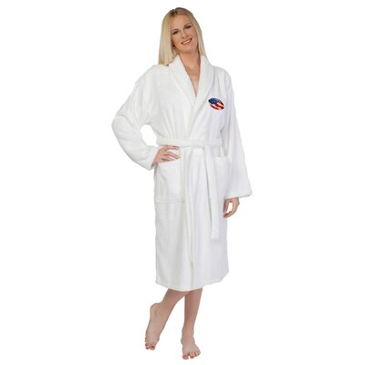 Football Embroidered Terry Bathrobe Size: Large / X-large