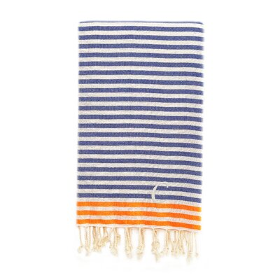 Fun at the Beach Pestemal Beach Towel Color: Ocean Blue / Orange