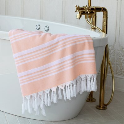 Adrienne Striped Fouta Towel Color: Peach
