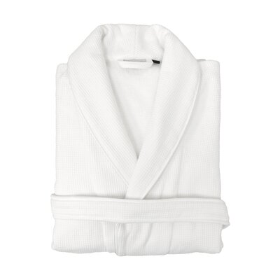 100% Turkish Cotton Unisex Waffle Weave Terry Bathrobe Size: Large / X-Large