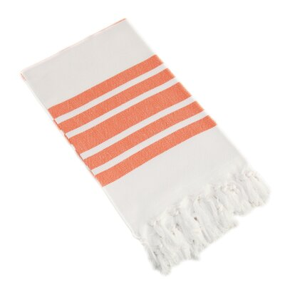 Herringbone Pestemal Beach Towel Color: Orange