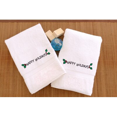 Terry Happy Holidays Ornament Embroidered Hand Towel