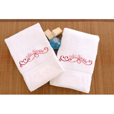 Terry Feliz Navidad Swirls Embroidered Hand Towel