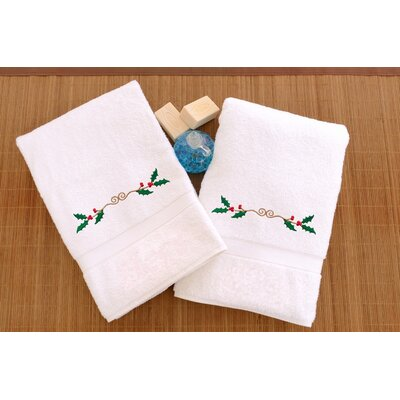 Terry Holly Border Embroidered Hand Towel