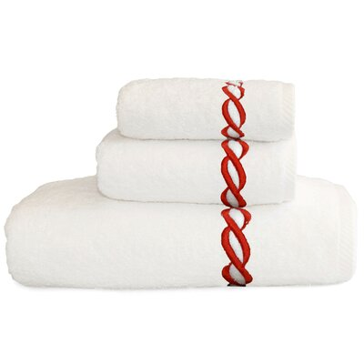 Cadena Embroidered Soft Twist 3 Piece Towel Set Color: Terra Cotta