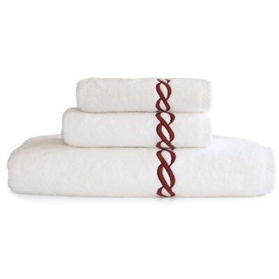 Cadena Embroidered Soft Twist 3 Piece Towel Set Color: Brown
