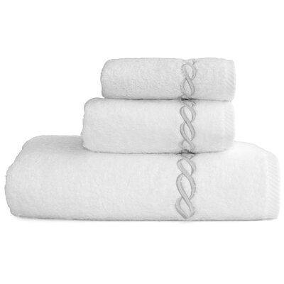 Cadena Embroidered Soft Twist 3 Piece Towel Set Color: Silver